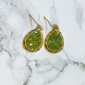 Iridescent glass bead cluster earrings